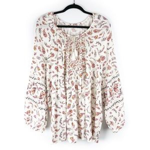 OLD NAVY Cream Floral Peasant Top Long Sleeve XXL